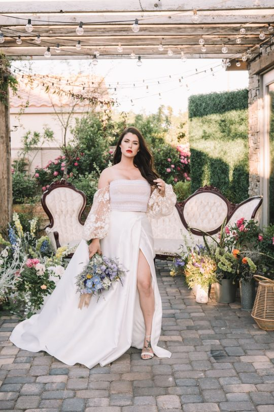 2 Piece Wedding Gown with Off the Shoulder Sleeves