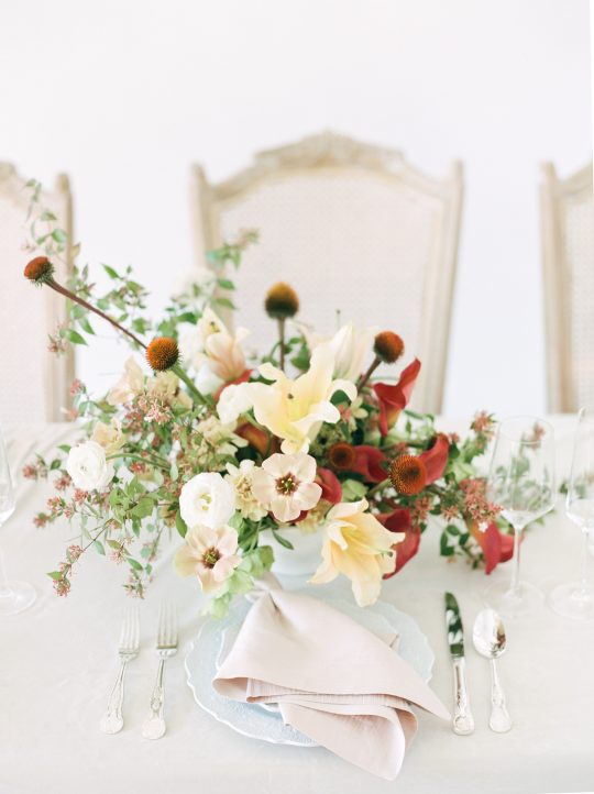 Antique Ivory and Deep Red Wedding Centerpiece