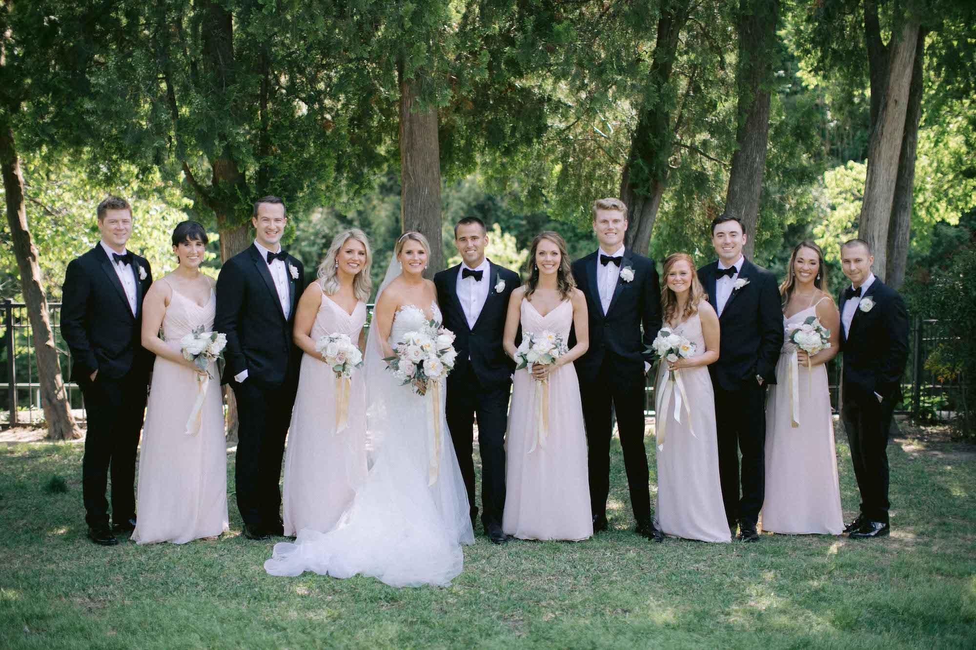 Blush and Black Bridal Party