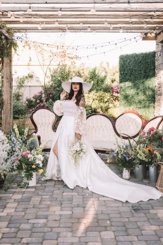 Bridal Portraits with Chic Hat