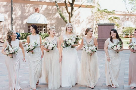 Champagne and Blush Bridesmaids Dresses