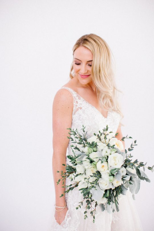 Chic White and Sage Green Wedding Bouquet