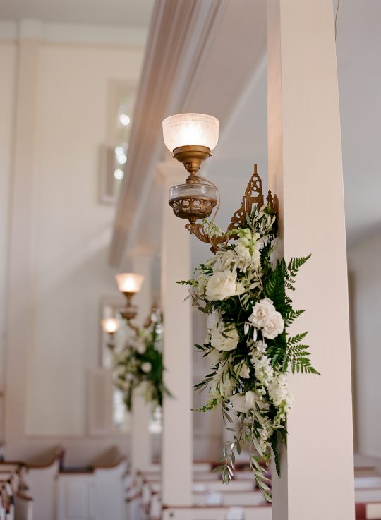 Classic Church Wedding White Floral Decor