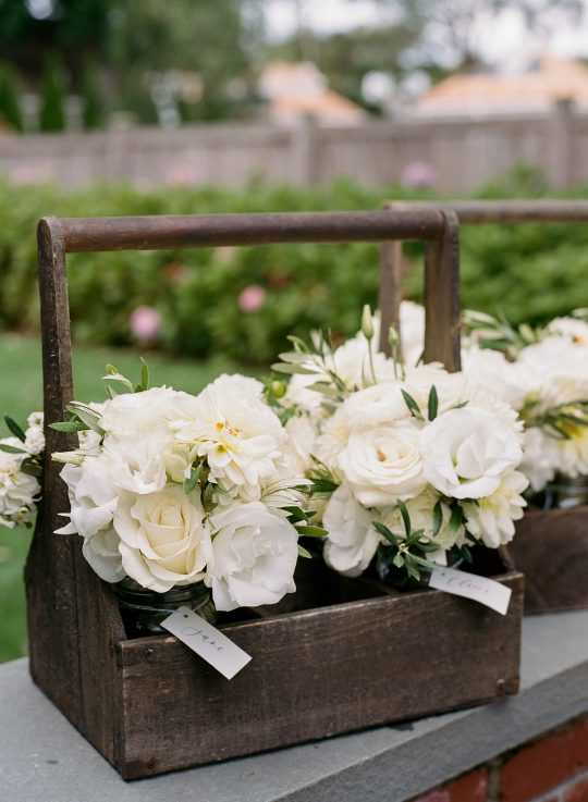 Classic White Rose Stock Dahlia Wedding Bouquet