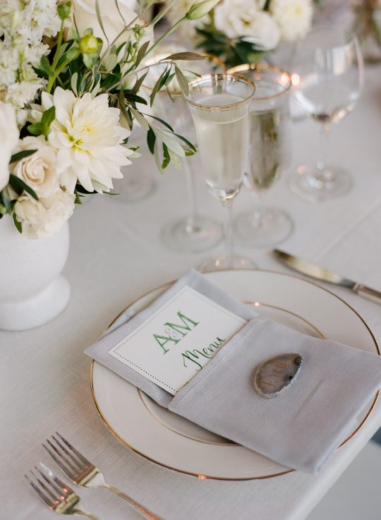 Coastal Wedding Reception Place Setting Details