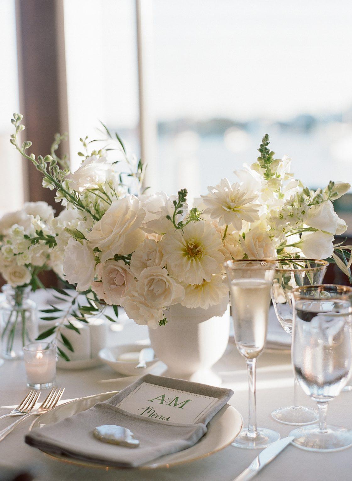 Coastal White Wedding Centerpiece