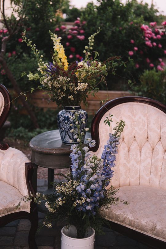 Delphinium and Wax Flower Reception Florals