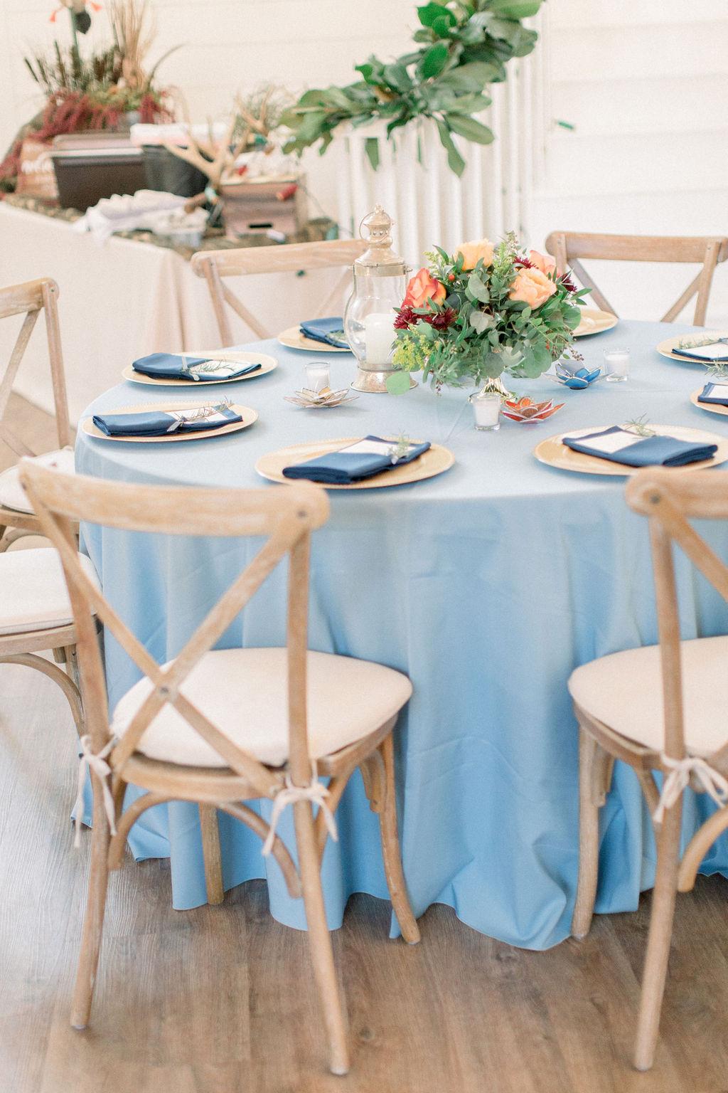 Dusty Blue Wedding Reception