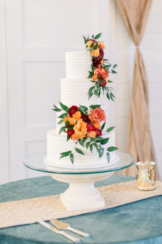 Fall Rose Wedding Cake