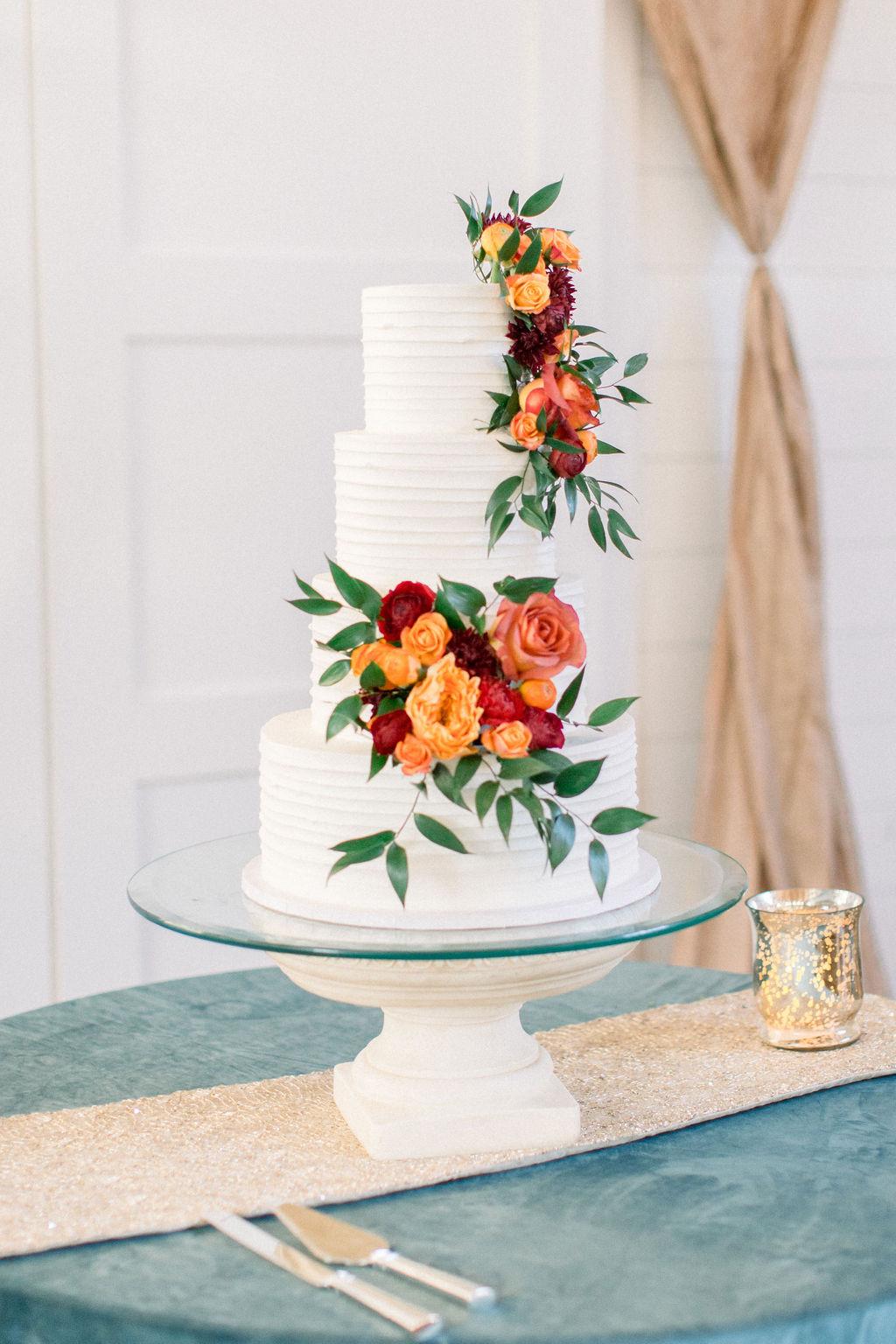 Fall Rose Wedding Cake