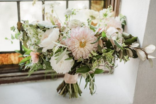 Garden Inspired Wedding Bouquet with Dahlias and Roses