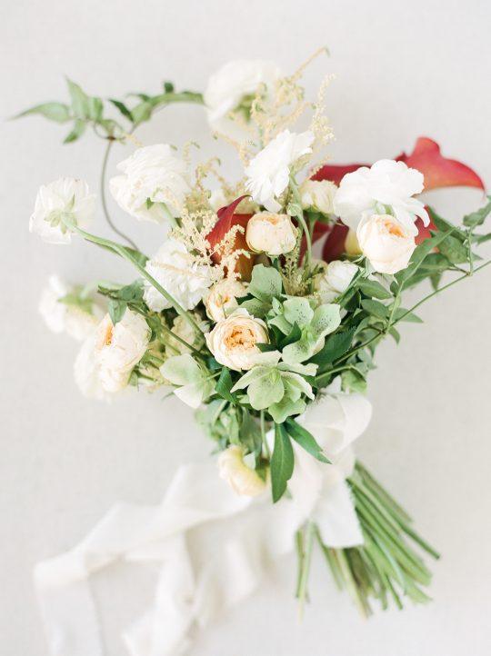 Hellebore Rose Ranunculus Calla Wedding Bouquet