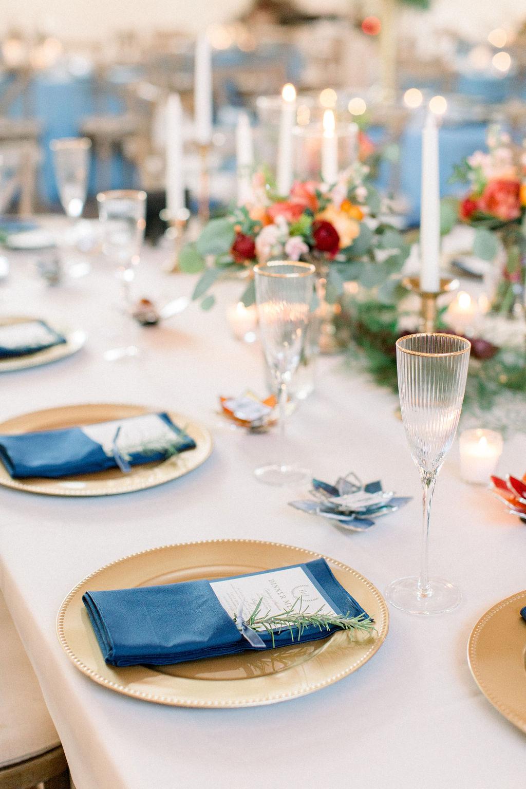 Indigo and Gold Wedding Reception Tablescape