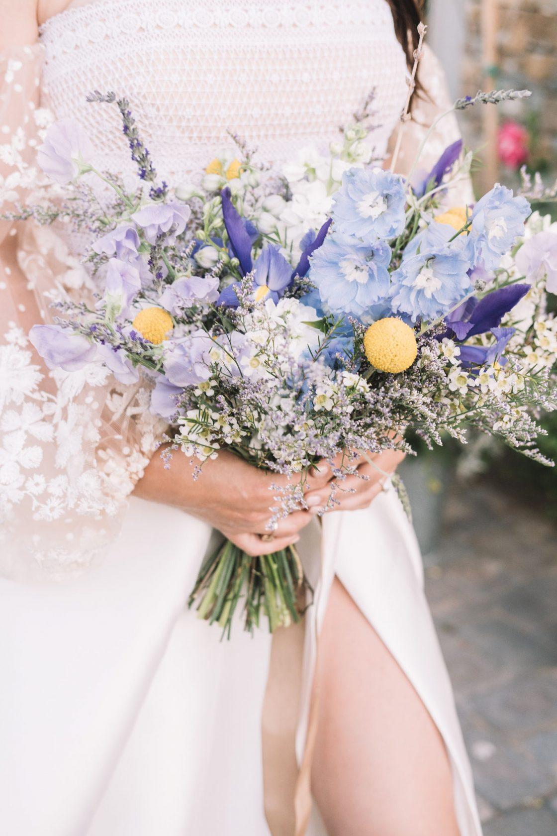 Lavender Blue Iris Sweet Pea Wedding Bouquet