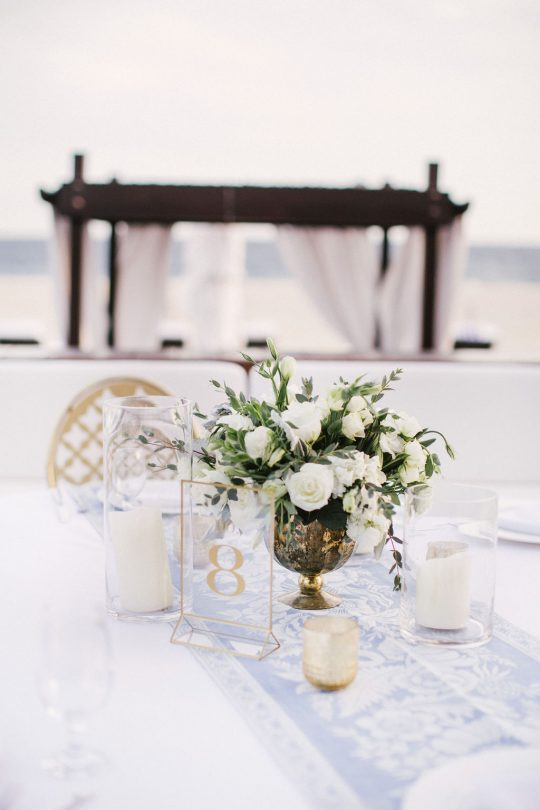 Light Blue and White Wedding Tablescape