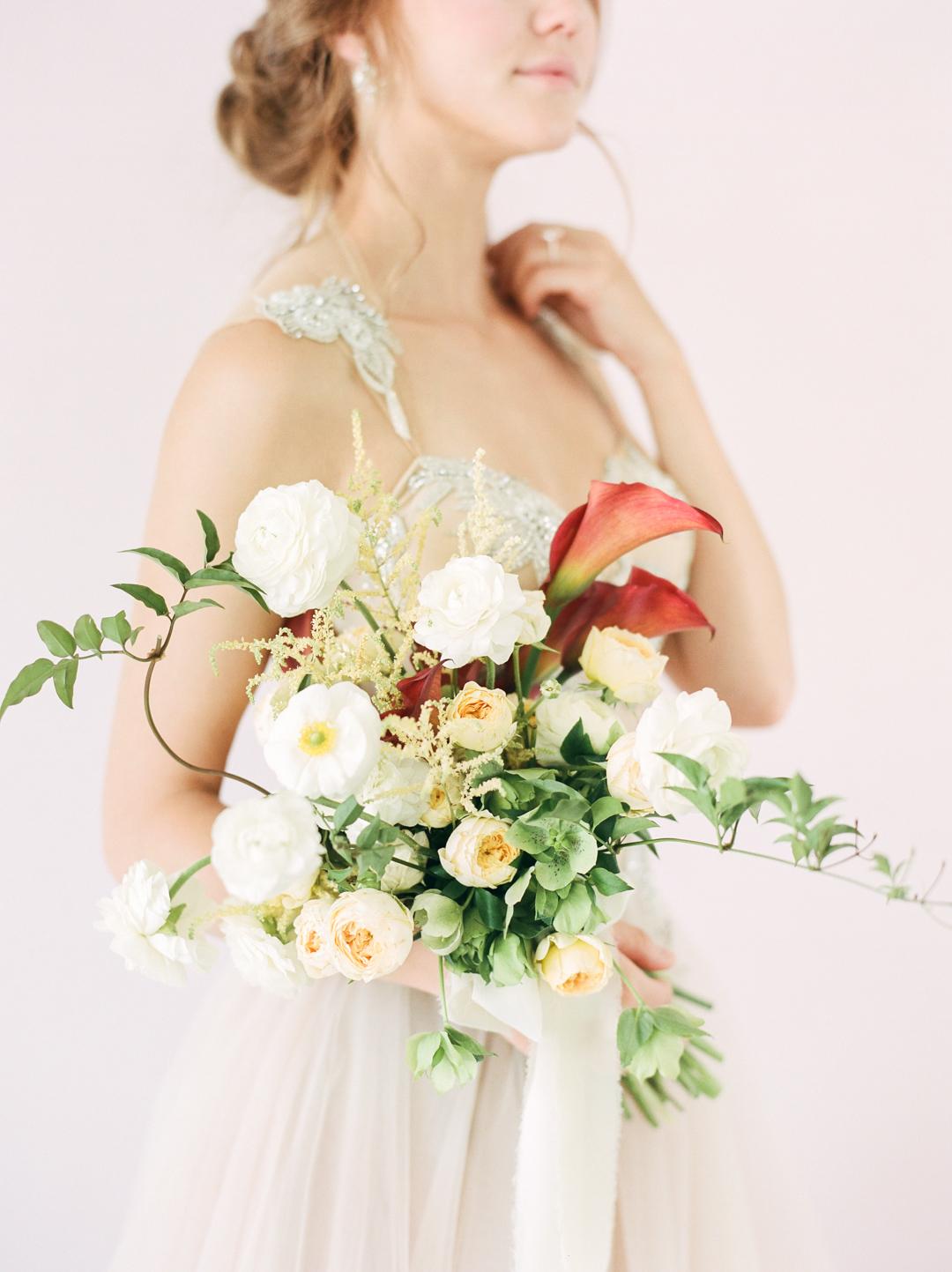 Organic Ranunculus Poppy Calla Wedding Bouquet