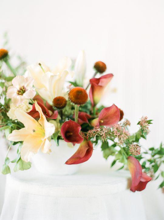 Peach Lily Rust Calla Wedding Centerpiece