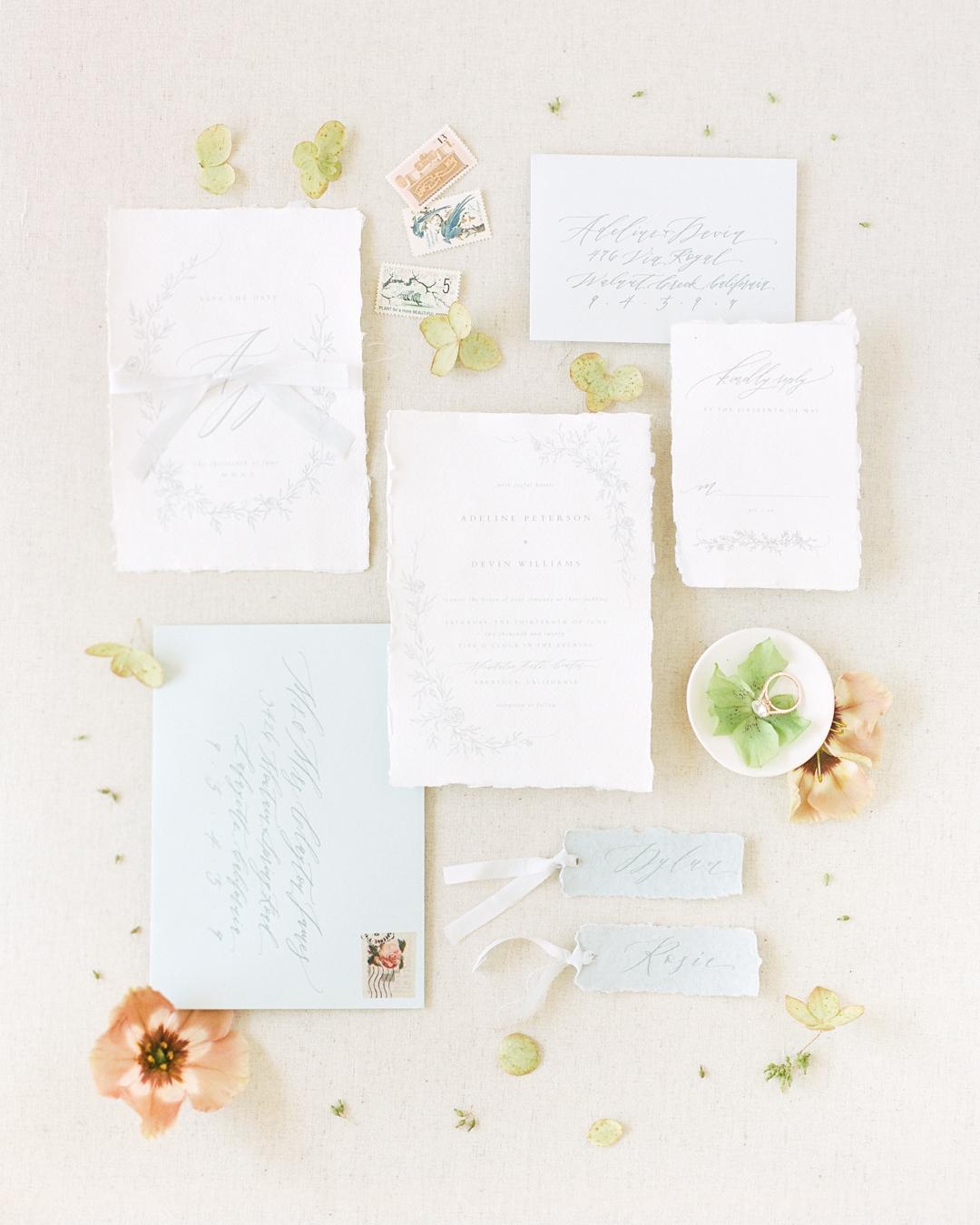 Romantic Ivory Calligraphy Wedding Invitation Suite