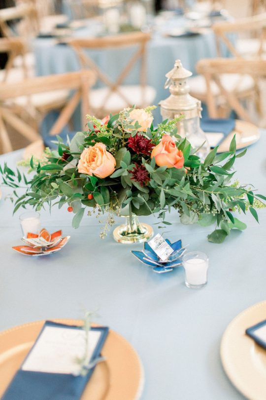 Rose and Greenery WEdding Centerpiece