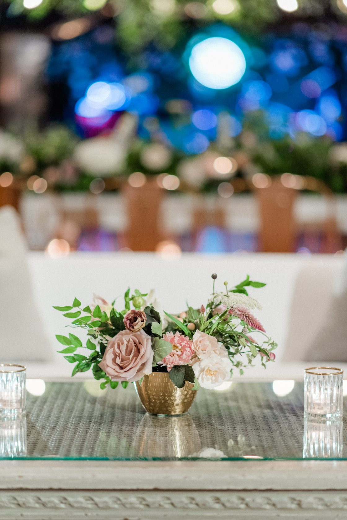 Small Dusty Rose Wedding Centerpiece