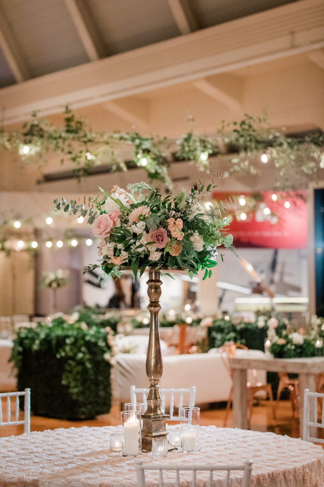 Tall Garden Inspired Wedding Reception Centerpiece