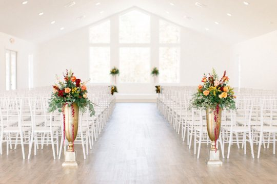 Tall Urn Wedding Ceremony Florals
