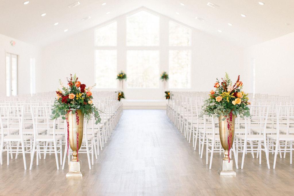 Tall Urn Wedding Ceremony Florals