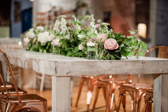 Wedding Farmhouse Table with Greenery and Roses