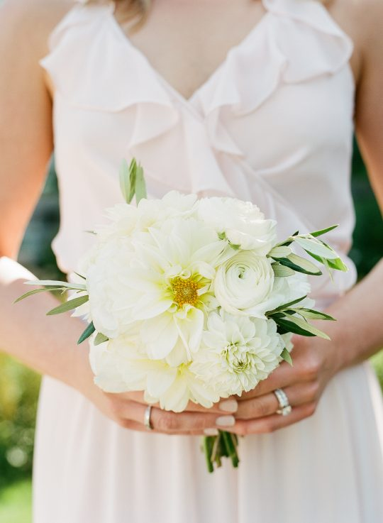 White Dahlia Ranunculus Bridesmaids Bouquet