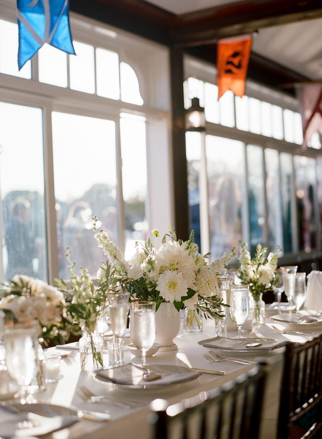 White Dahlia Stock Wedding Centerpiece