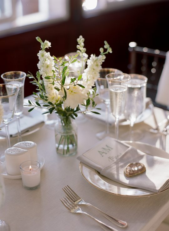 White Delphinium and Dahlia Centerpiece