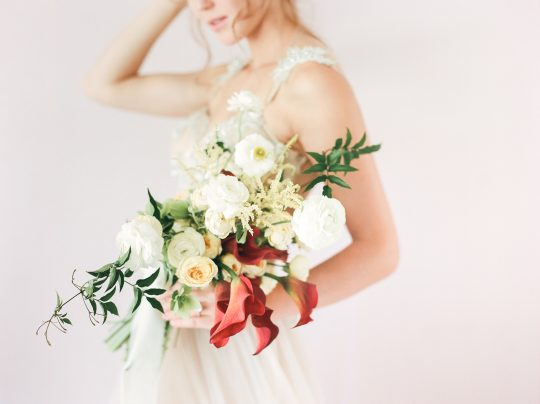 White Ranunculus Poppy Astilbe Wedding Bouquet