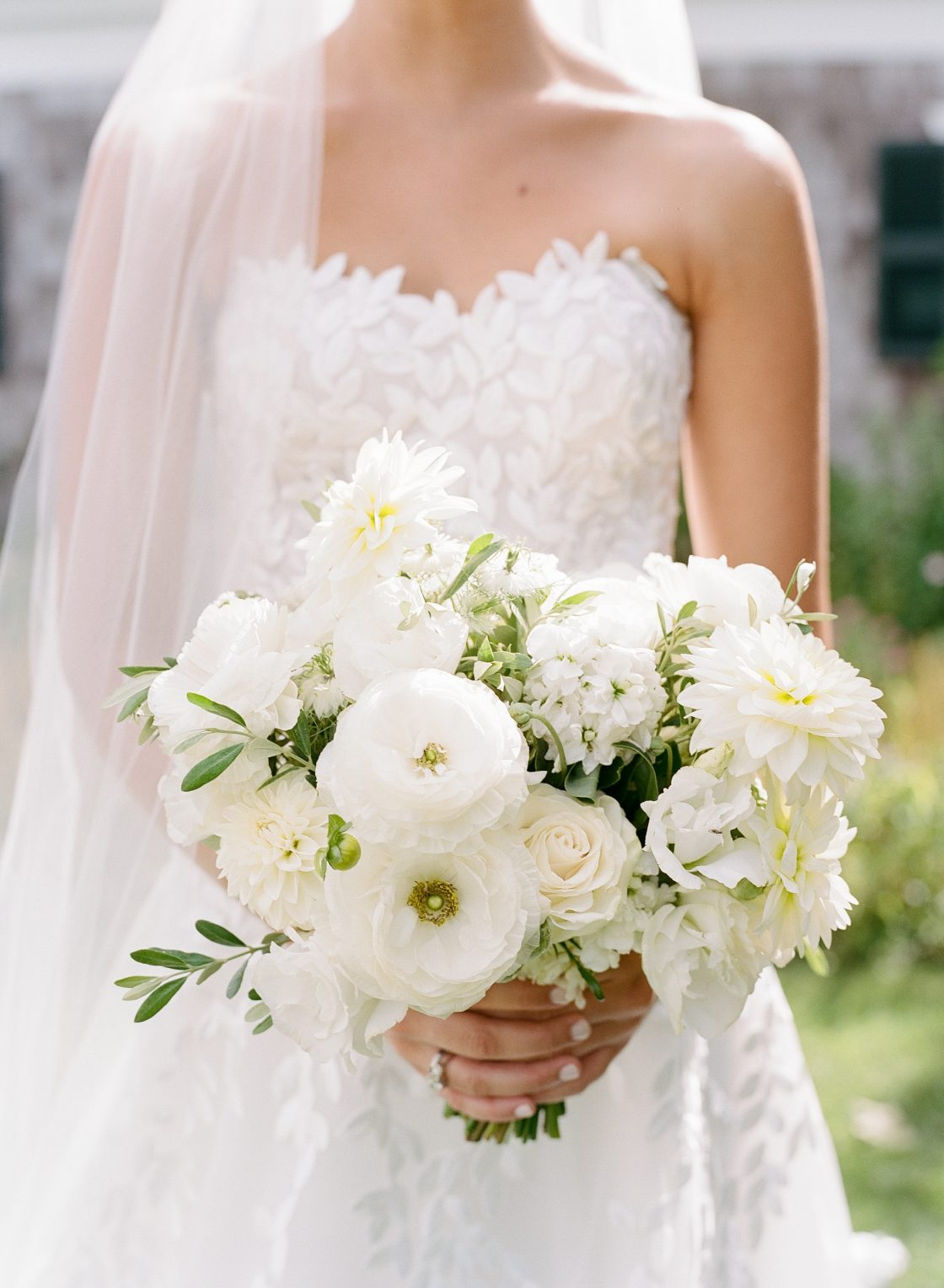 White Rose Ranunculus Dahlia Wedding Bouquet