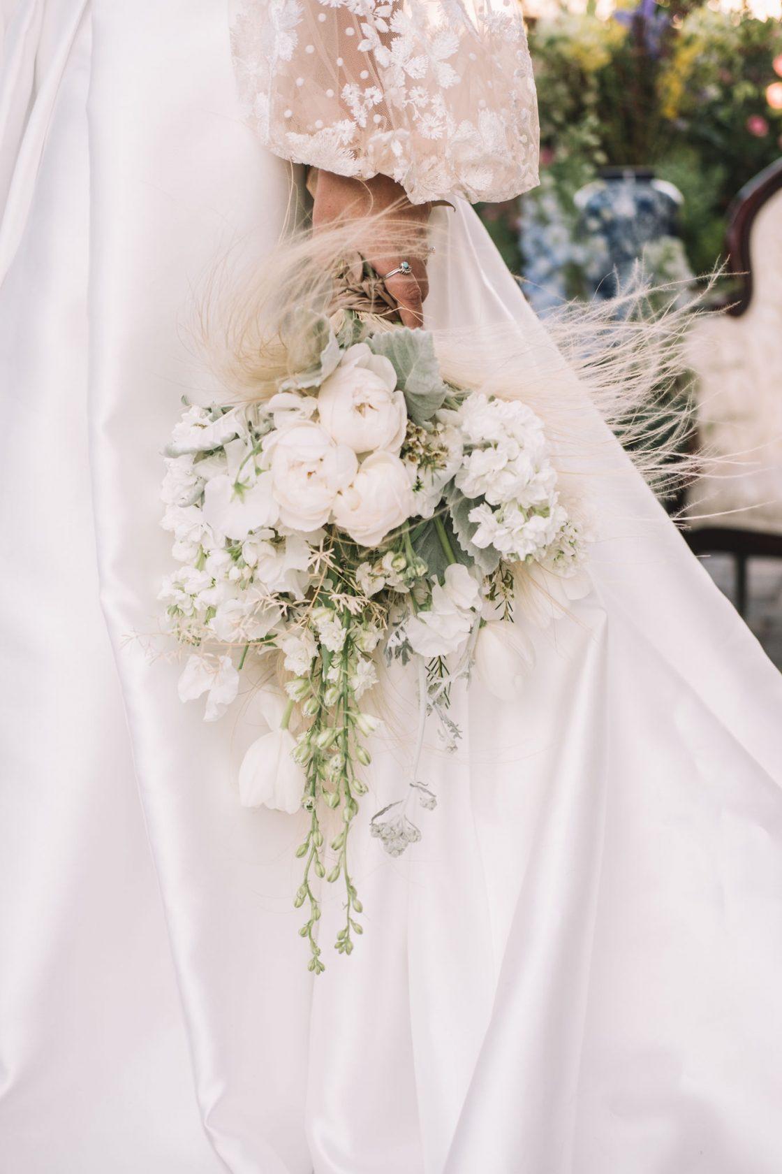 White Stock Tulip Delphinium Peony Wedding Bouquet