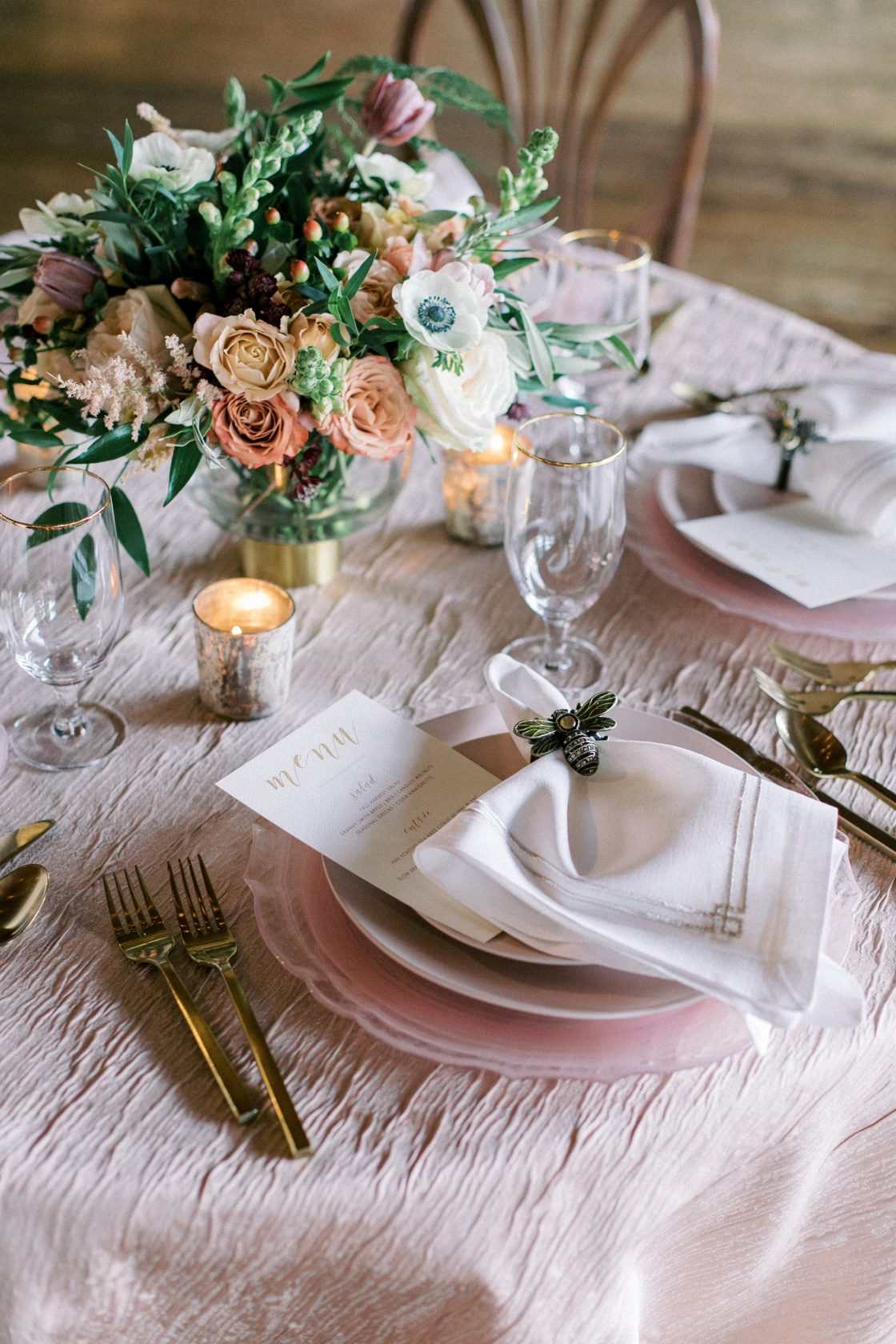 Bumble Bee Garden Inspired Wedding Place Setting