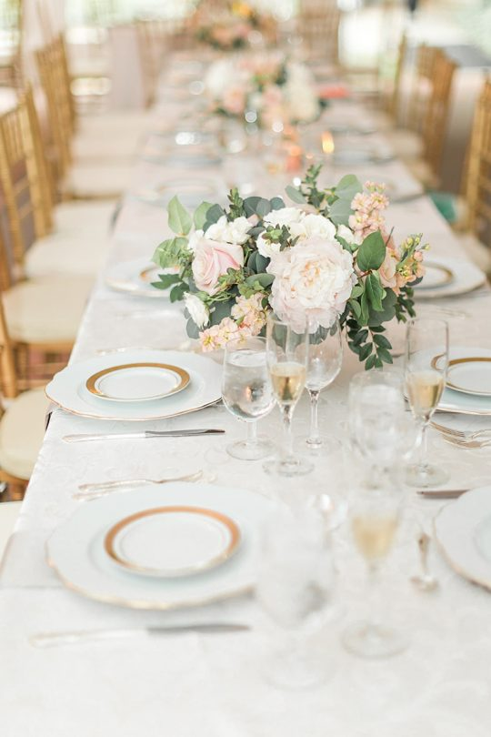 Elegant Gold and Blush Wedding Tablescape