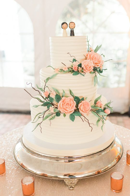 Elegant Pink Rose Wedding Cake