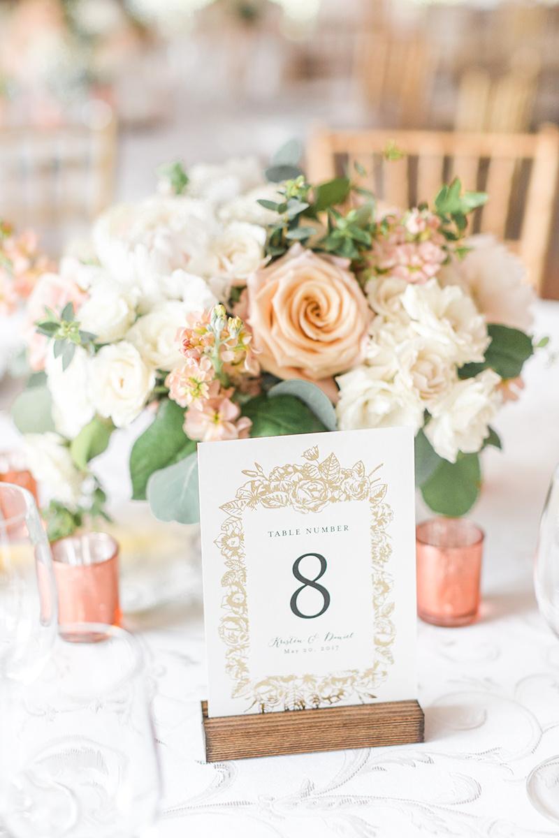 Elegant Wedding Reception Table Number