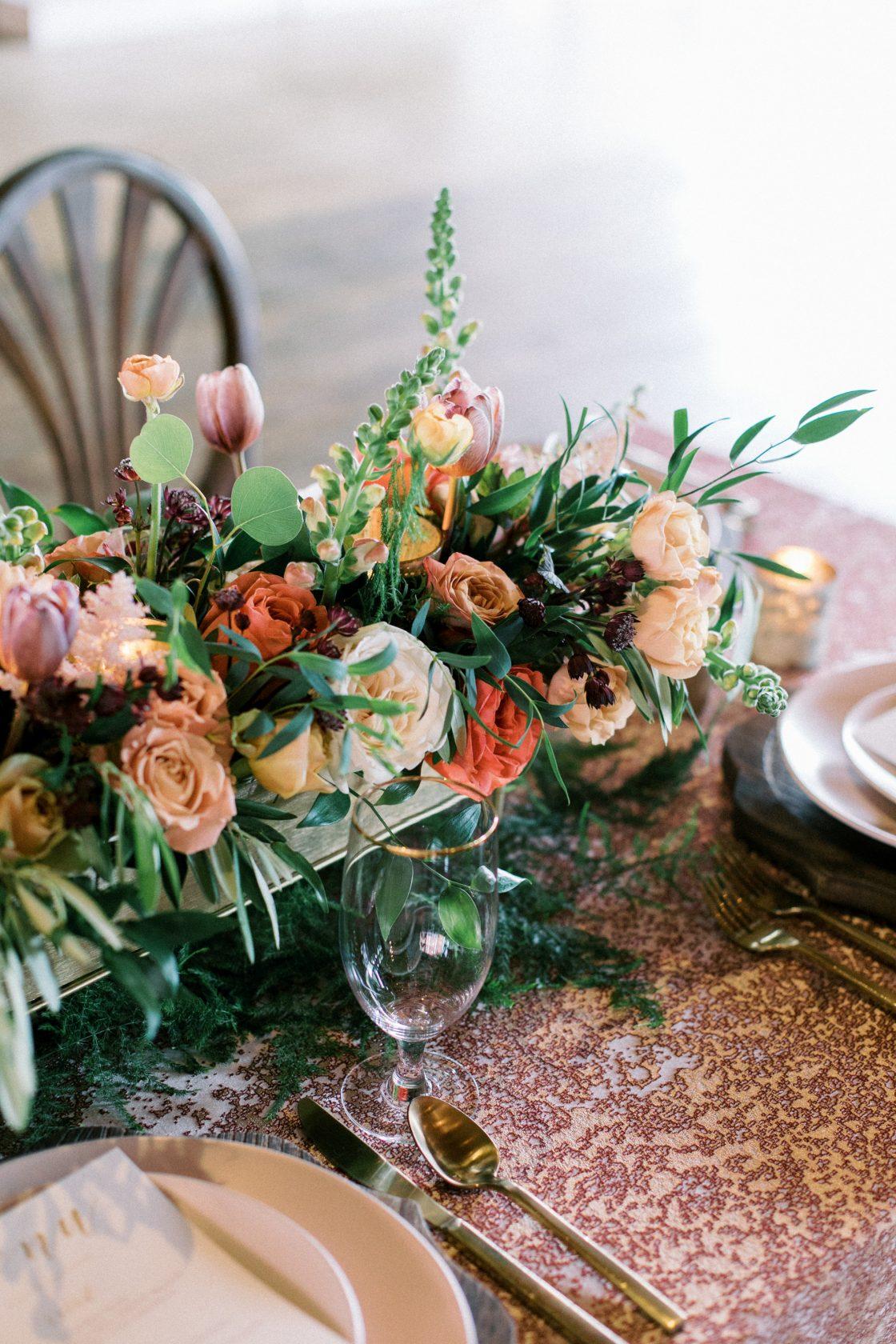 Fall Roses Wedding Centerpiece