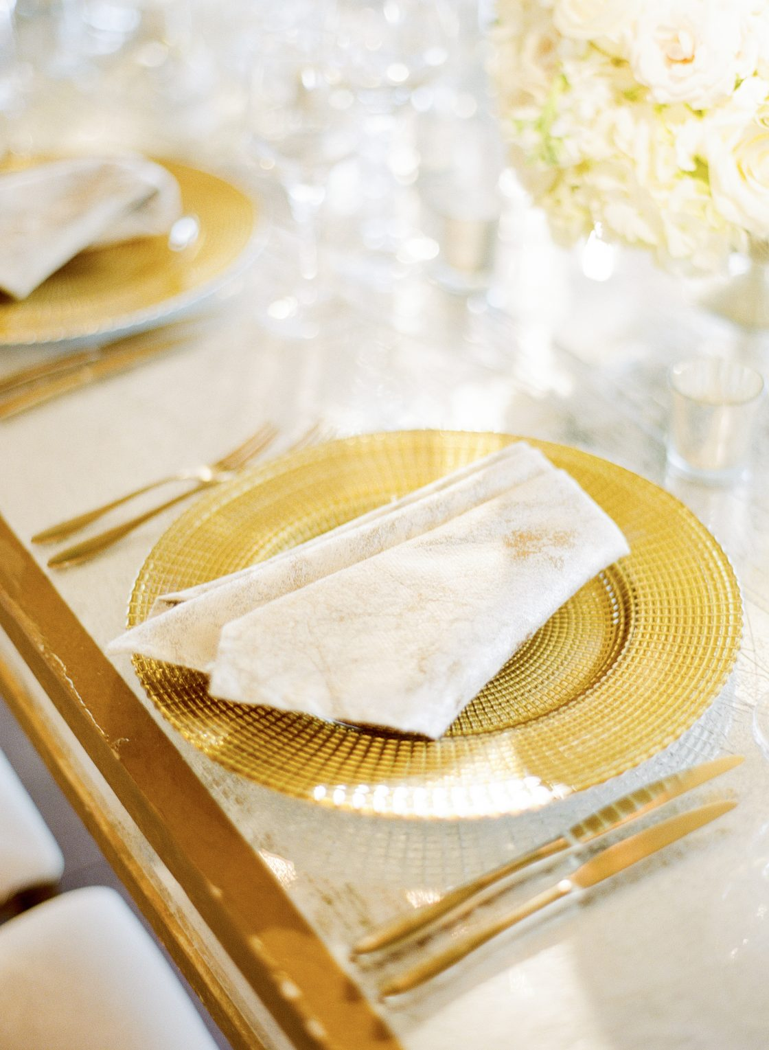 Gold and Ivory Wedding Reception Place Setting