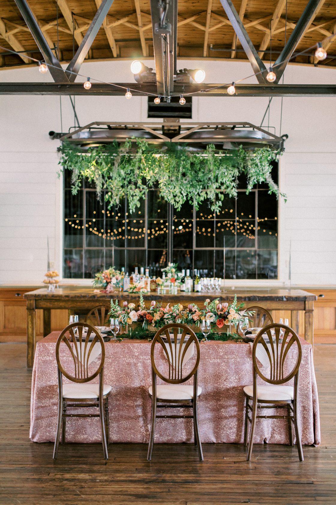 Greenery Chandelier Wedding Reception Decor