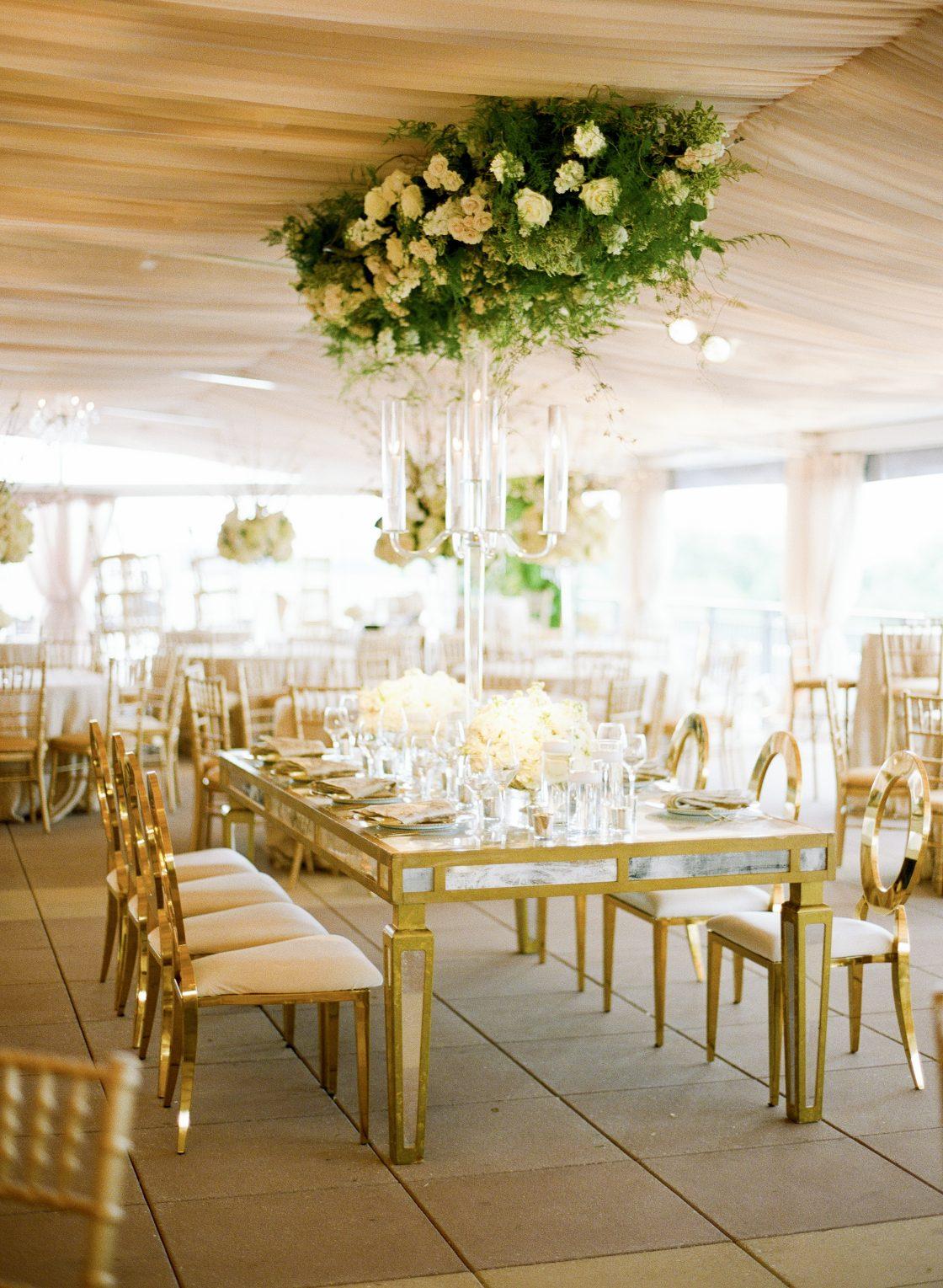 Greenery Chandelier Wedding Reception Florals