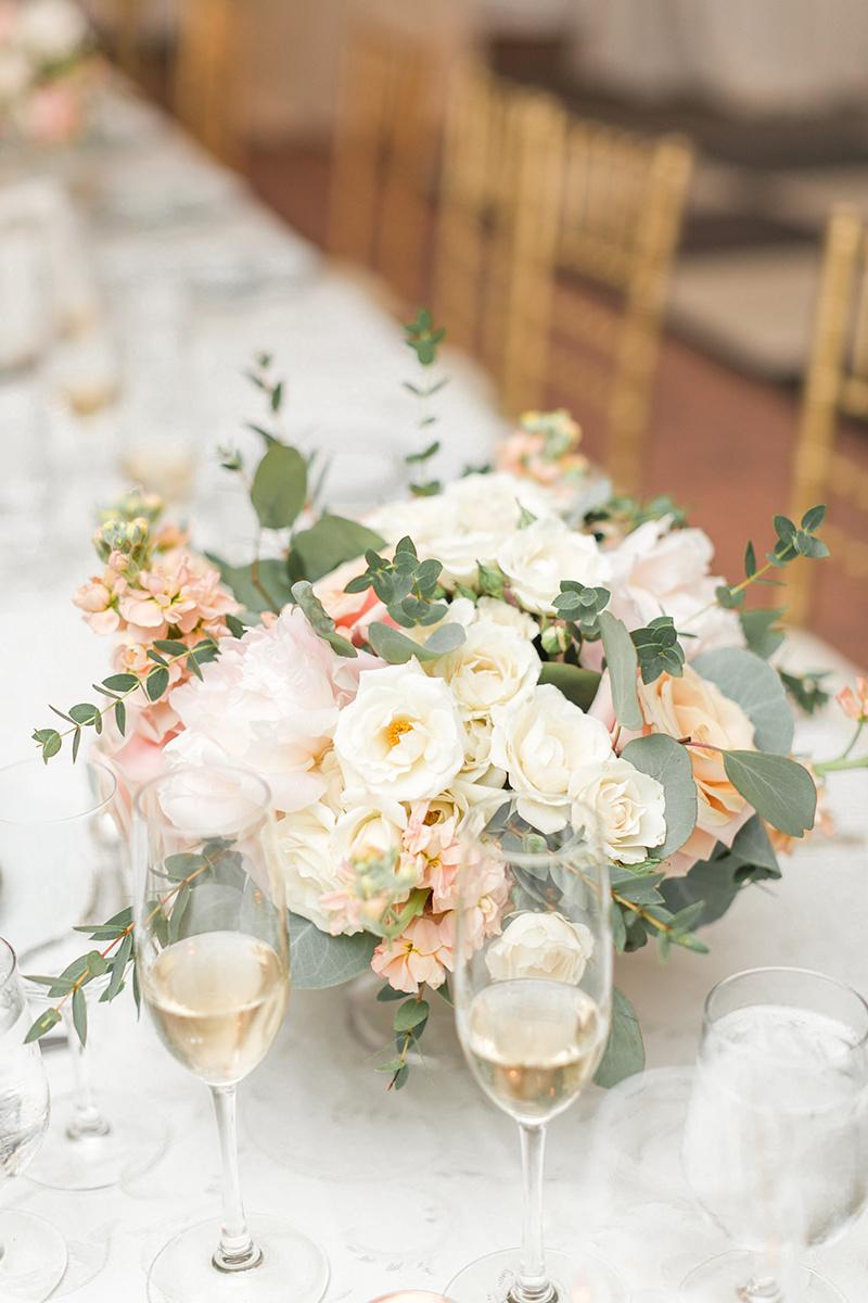 Ivory Blush Peach Wedding Centerpiece