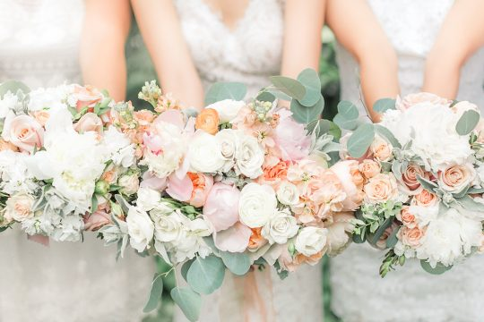 Ivory Peach Blush Rose and Peony Wedding Bouquets