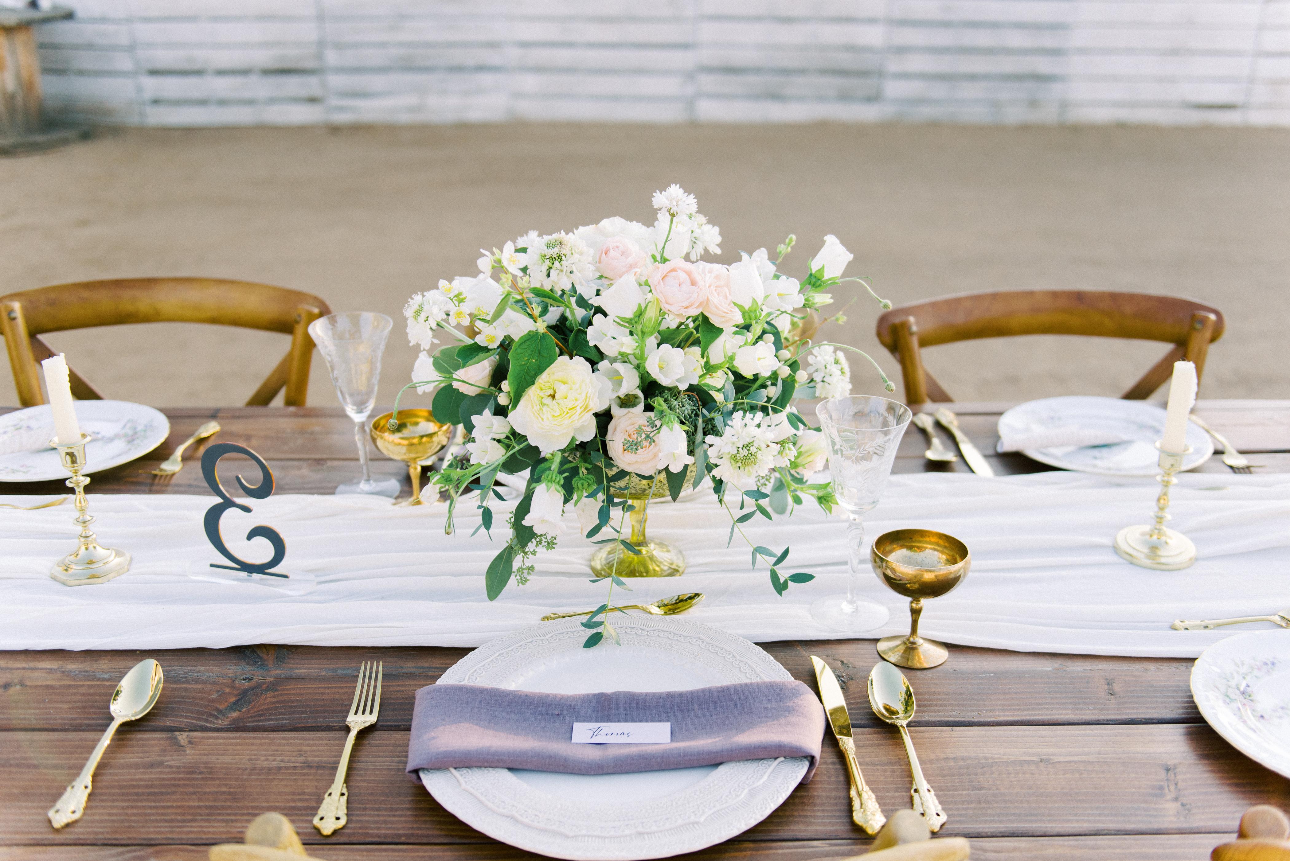 Ivory Rose Lavender Farm Wedding Centerpiece