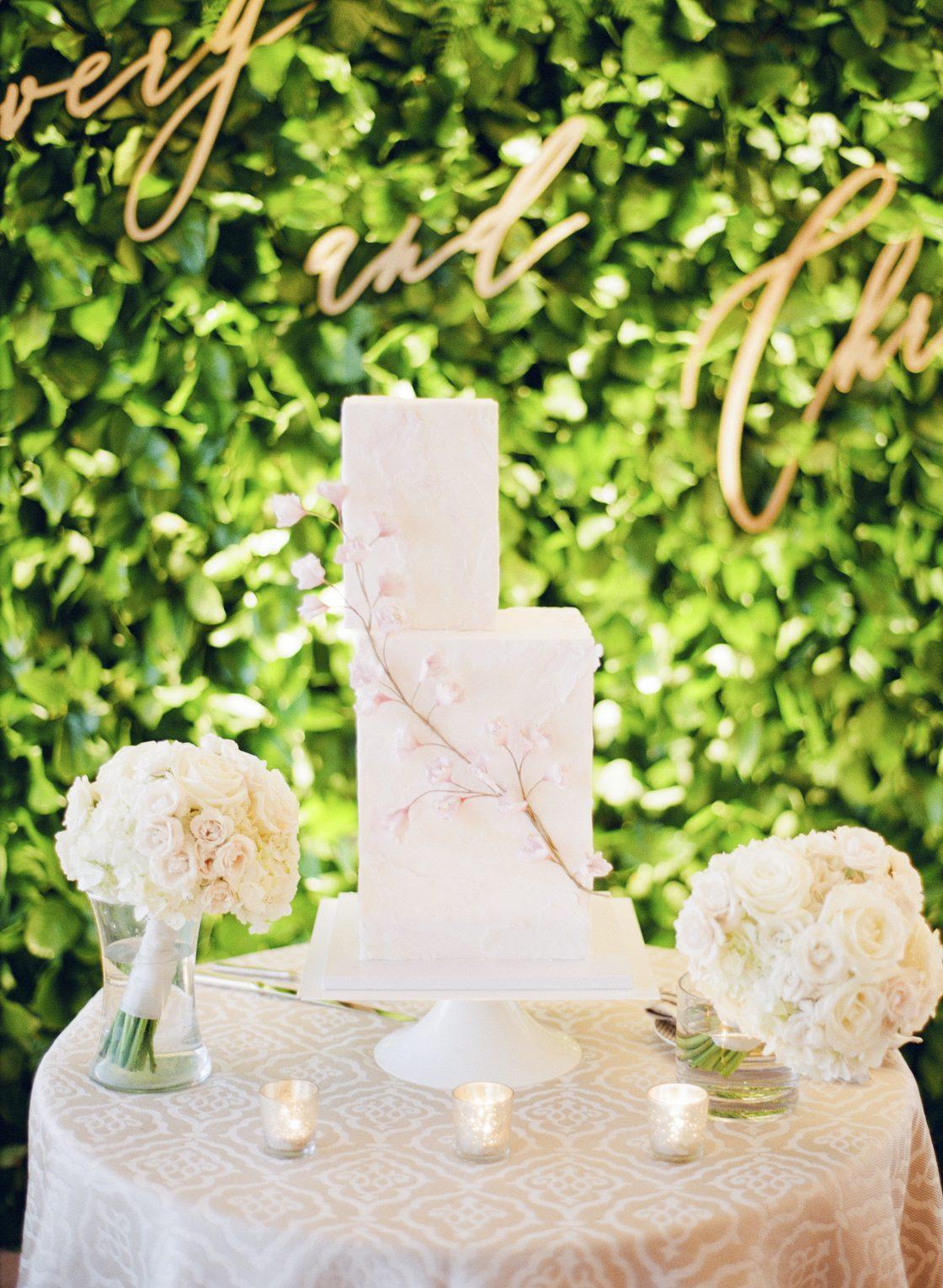 Modern Cherry Blossom Wedding Cake