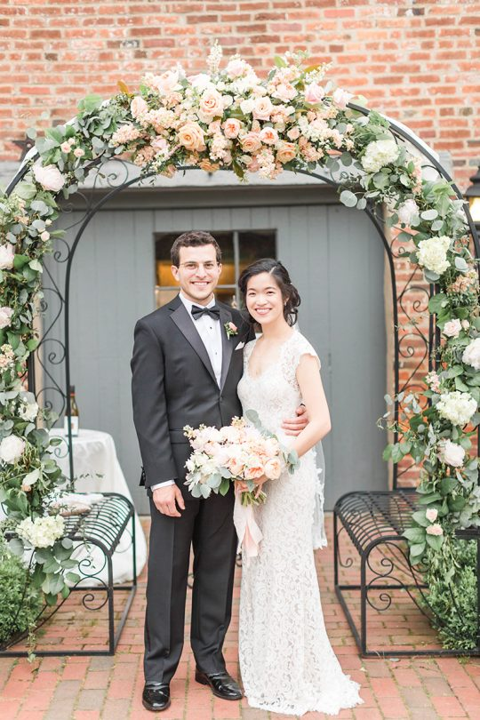 Peach Rose Floral Wedding Arbor