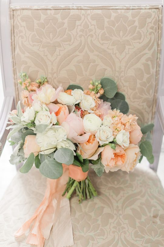 Peach Rose and Ivory Peony Wedding Bouquet