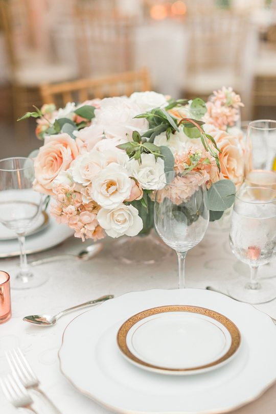 Peach and Blush Garden Rose Wedding Centerpiece