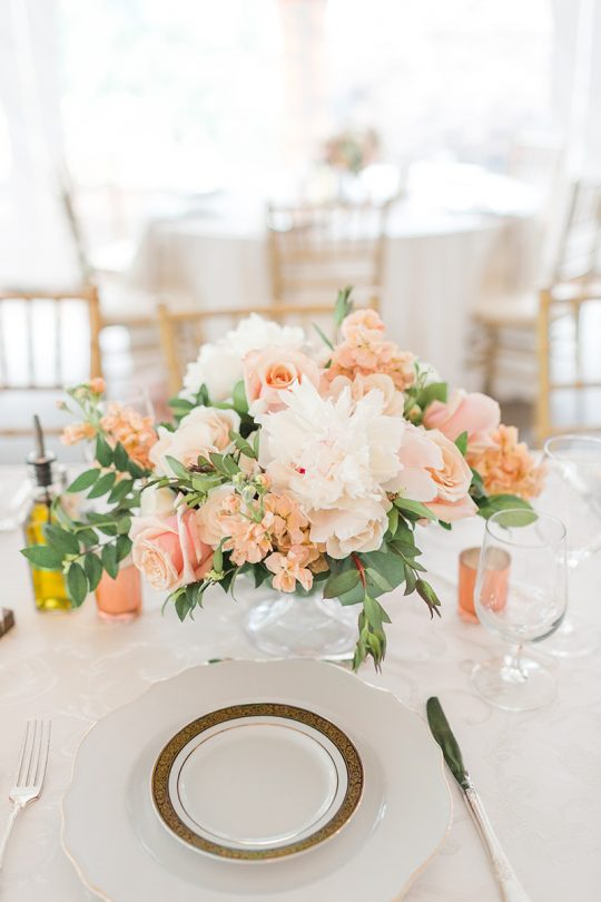 Peony Rose Stock Peach and Blush Wedding Centerpiece